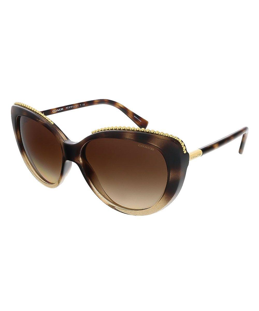d5a87a7245 COACH Hc8157 533813 Glitter Dark Tortoise Cat Eye Sunglasses .  coach   sunglasses