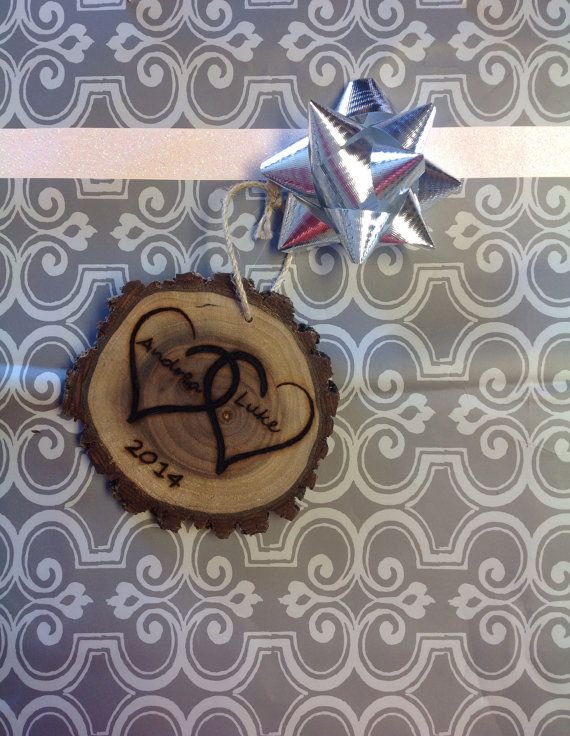 Wood burned Hearts ornament by WoodburnWithStyle on Etsy