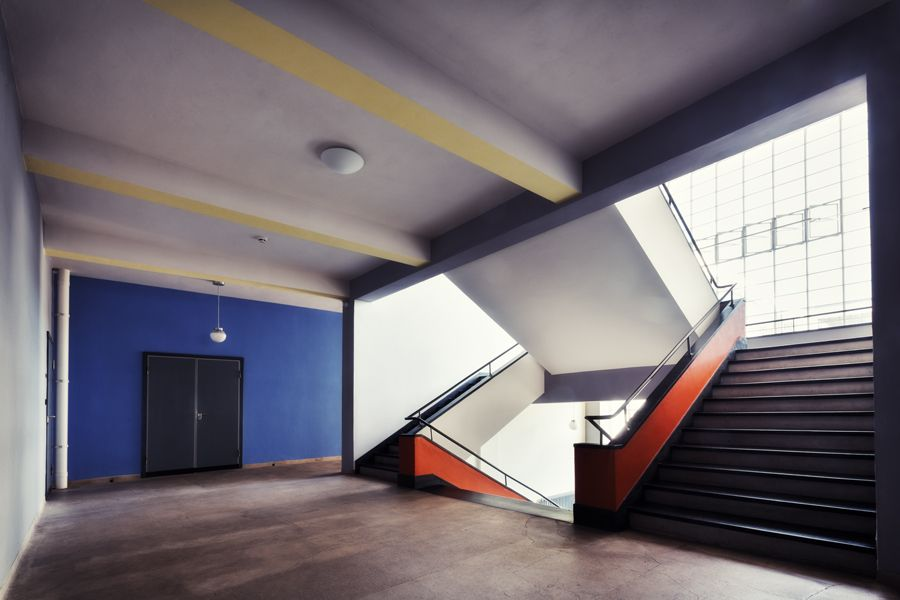 Staircase in the Bauhaus in the homeage city of Bauhaus
