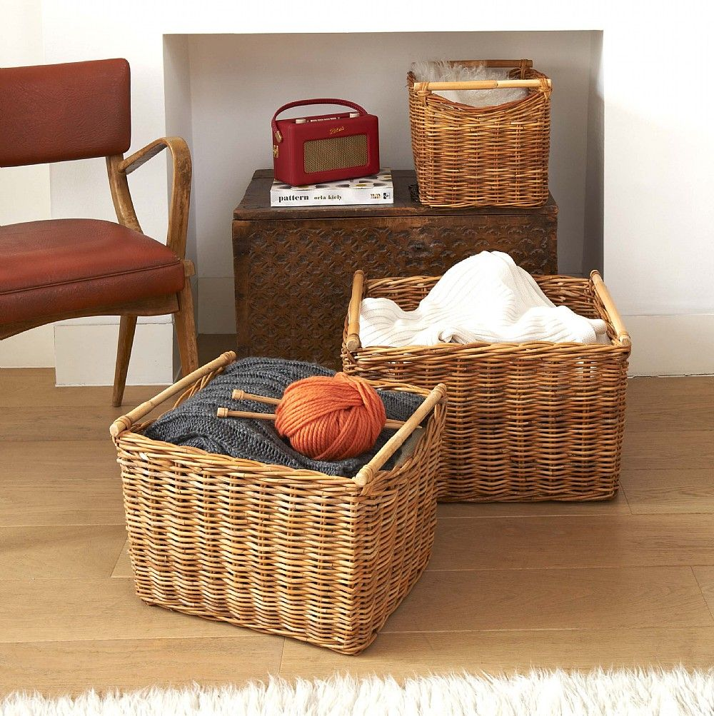 Rattan basket with handles baskets baskets baskets pinterest bramdean rattan basket with cane handles the holding company greentooth Images