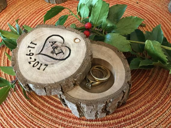 Wood Ring Box Rustic Country Wedding Ring Holder Custom