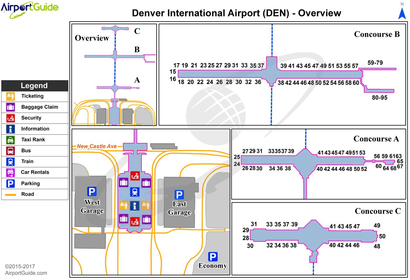 Denver Denver International Den Airport Terminal Map Overview Airport Map Denver International Airport Airport Guide