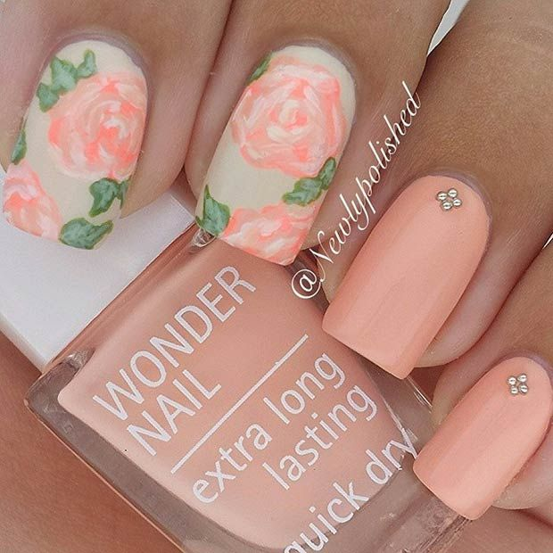 Peachy Matte Flower Nail Design - 50 Flower Nail Designs For Spring Flower Nail Designs, Flower