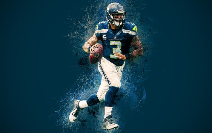 Download Wallpapers Russell Wilson Seattle Seahawks 4k Art American Football Creative Art Grunge Paint Art Quarterback Nfl Usa National Football Leag American Football Seattle Seahawks National Football League