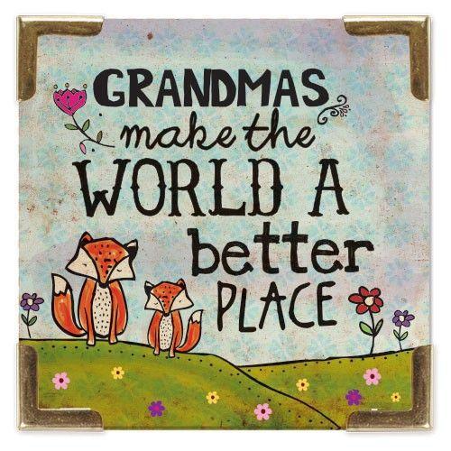 Grandmas Corner Magnet - Little foxes and 'Grandmas Make the World a Better Place' grace this sweet, giftable Corner Magnet.