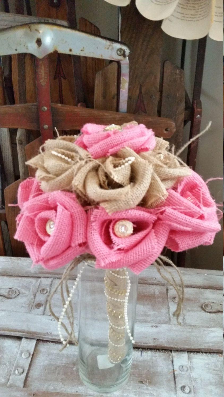 Handmade Burlap Wedding Bouquet Buttons Brooch Pearls Bling Pink ...