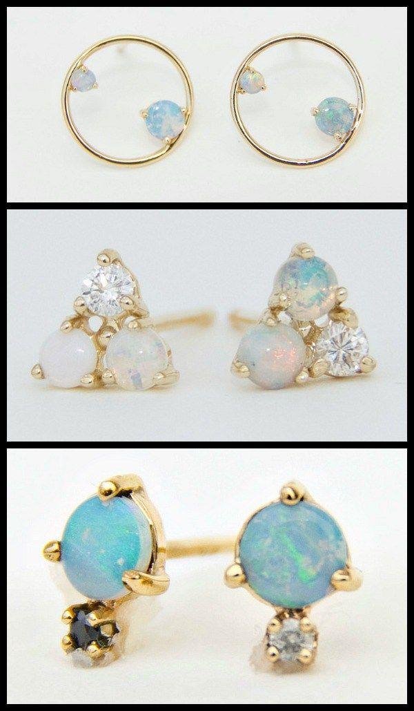 WWAKE gold, opal, and diamond stud earrings. Via Diamonds in the Library.