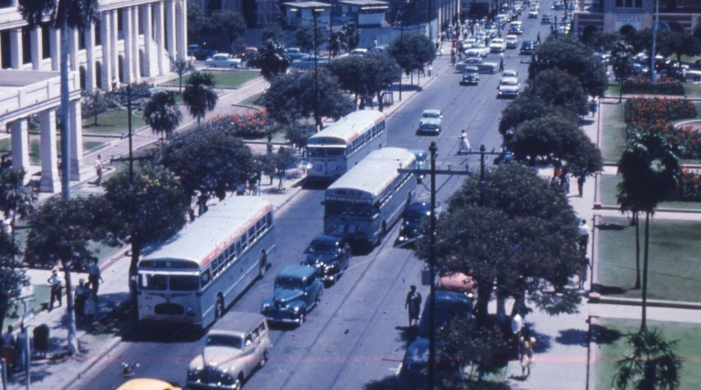 35mm Slide King Street Scene Jamaica Cars 1960s Street