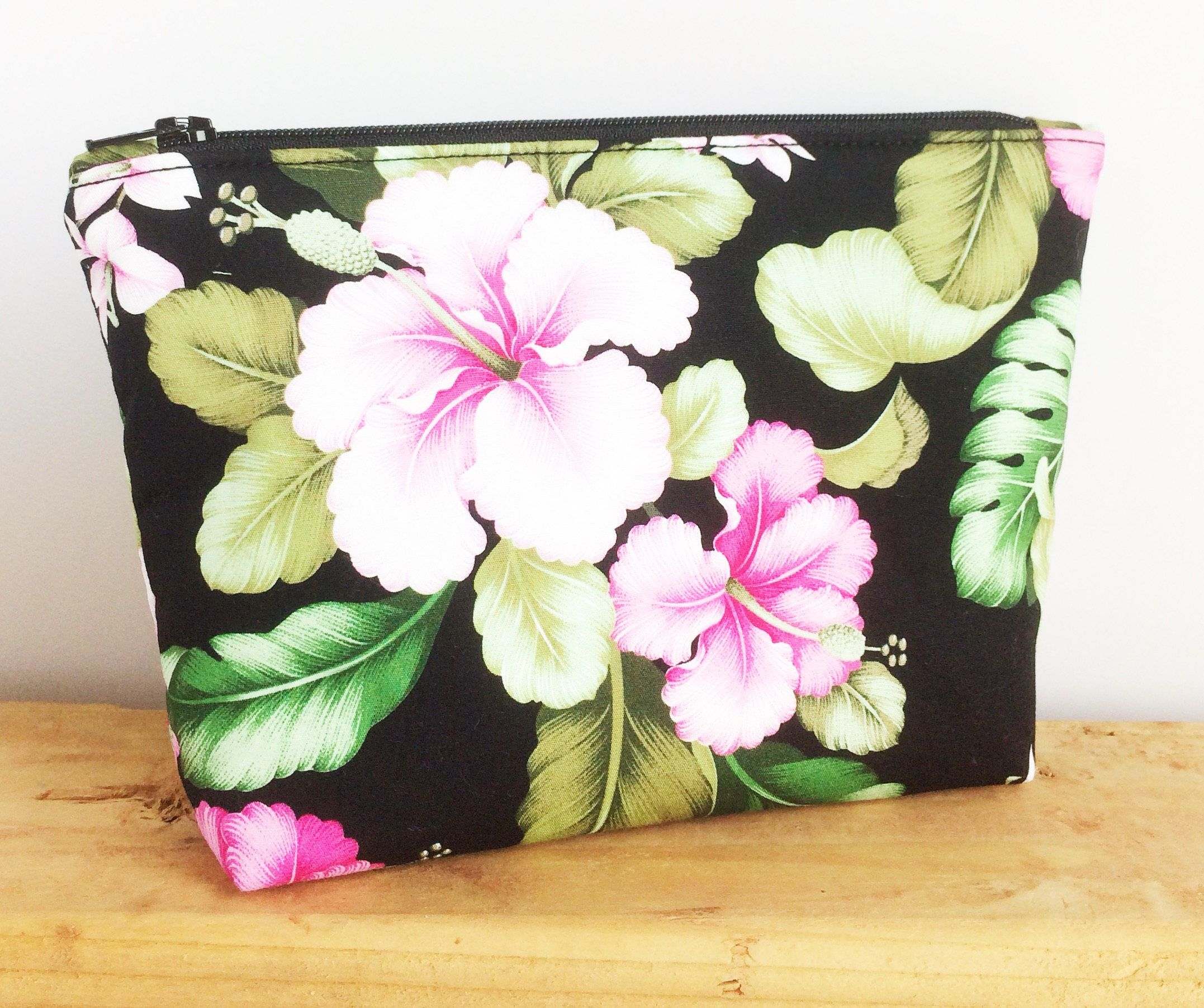 8c2140dd5 Tropical Makeup Bag - Travel Pouch - Hawaiian Bag - Cute Makeup Bag -  Honeymoon Gift - Best Friend Gift - Small Cosmetic Bag - Black Pouch
