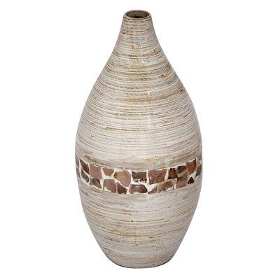 Spun Bamboo Floor Vase Cream /& Orange Heather Ann Creations Lila 27 in