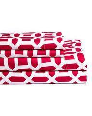 20 Lakes Pink Geometric Print Microfiber Sheet & Pillowcase Set