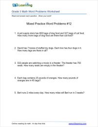 Grade 3 Math Word Problems Worksheet A Board About Nothing