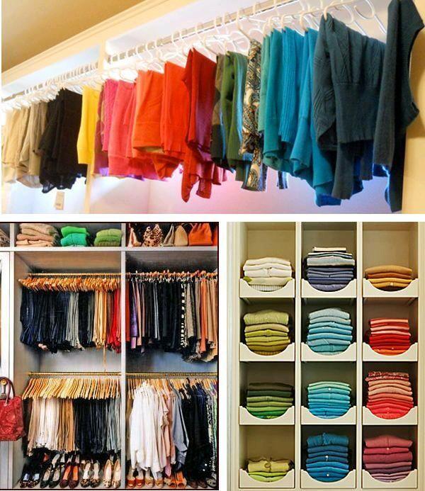 Open Closet Excelente Idea Para Organizar En Espacios Pequea Os Organizar Closet Organizacion Del Hogar Organizar