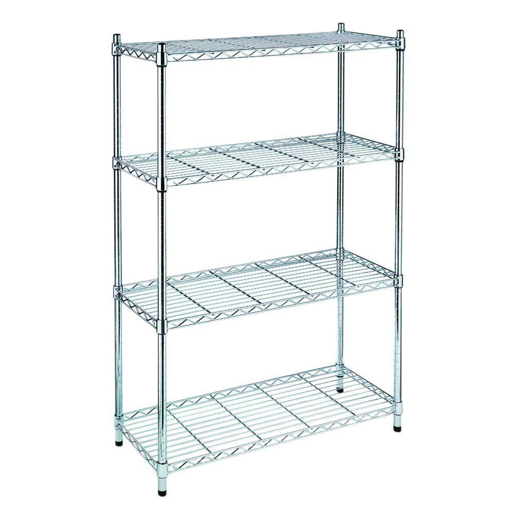 Hdx Chrome 4 Tier Steel Wire Shelving Unit 36 In W X 54 In H X 14 In D Eh Wsthdus 004 The Home Depot Whitmor Shelving Wire Shelving Units