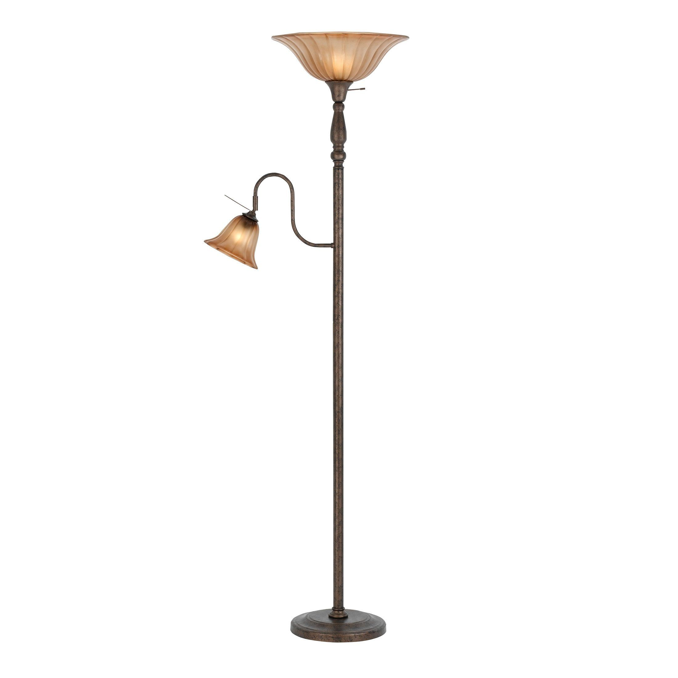 Cal Lighting BO2052RU 2 Light Torchiere Floor Lamp, Rust