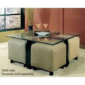Love Coffee Tables That Fit Ottomans Underneath For Extra Seating