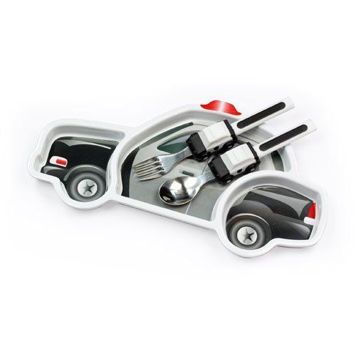 Police Car Dinner Set Kids Dishwasher Safe Dining Plate And Utensils By Urban Trend 23 59 Your Little Hero Will Race To Th Police Baby Tableware Set Police