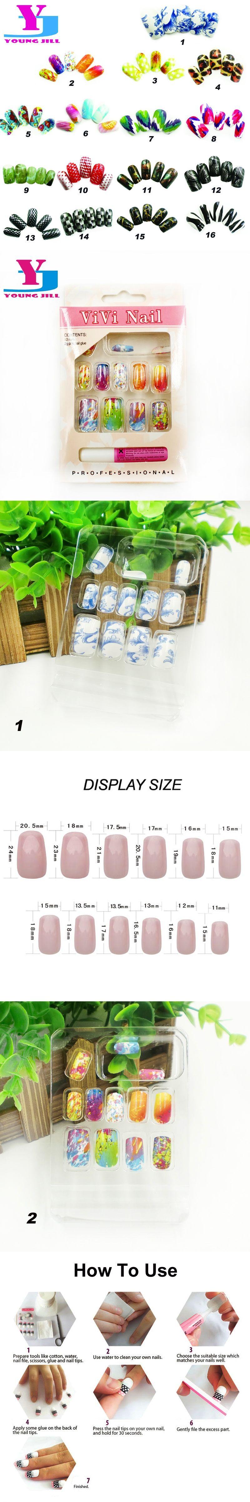 16 Designs Art Fake Nails Full Cover 12pcs/set Colorful Nail Tips ...