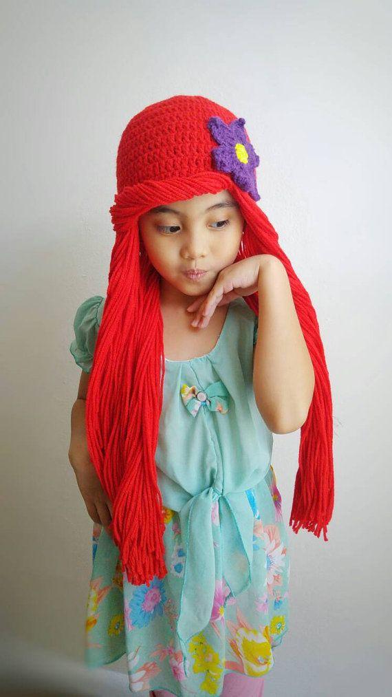 Ariel,Ariel Little mermaid crochet hat,ariel hat,ariel wig hat ...