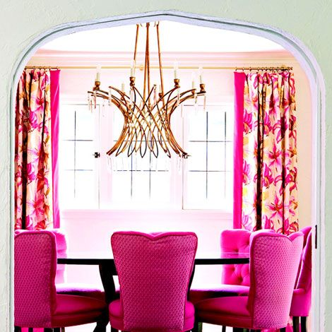 chandelier and pink dining room