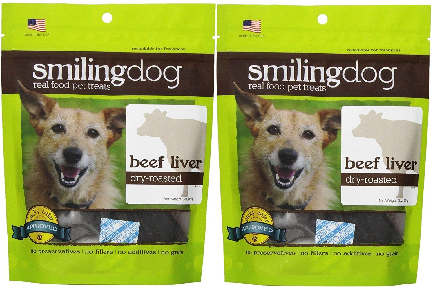 Herbsmith Smiling Dog Dry Roasted Beef Liver Treats for