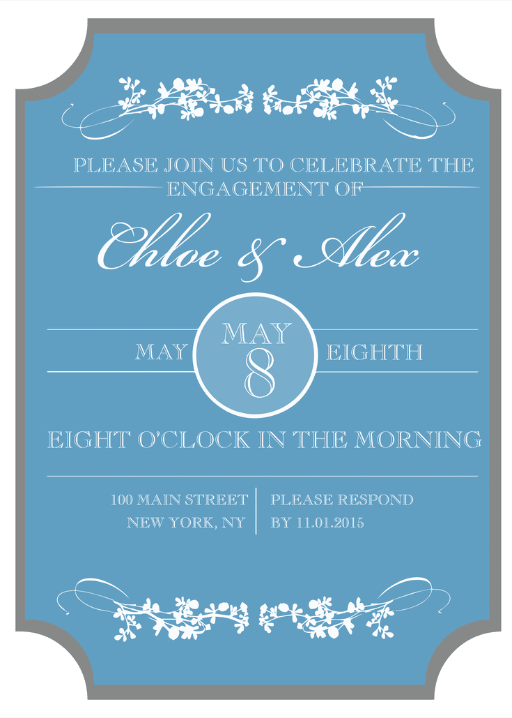 picture relating to Free Printable Engagement Party Invitations identify 8 Cost-free Printable Invitations for Your Engagement Get together Makes it possible for