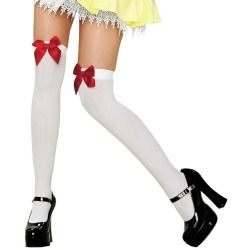 White with Red Bow Thigh Highs - Stockings and Tights