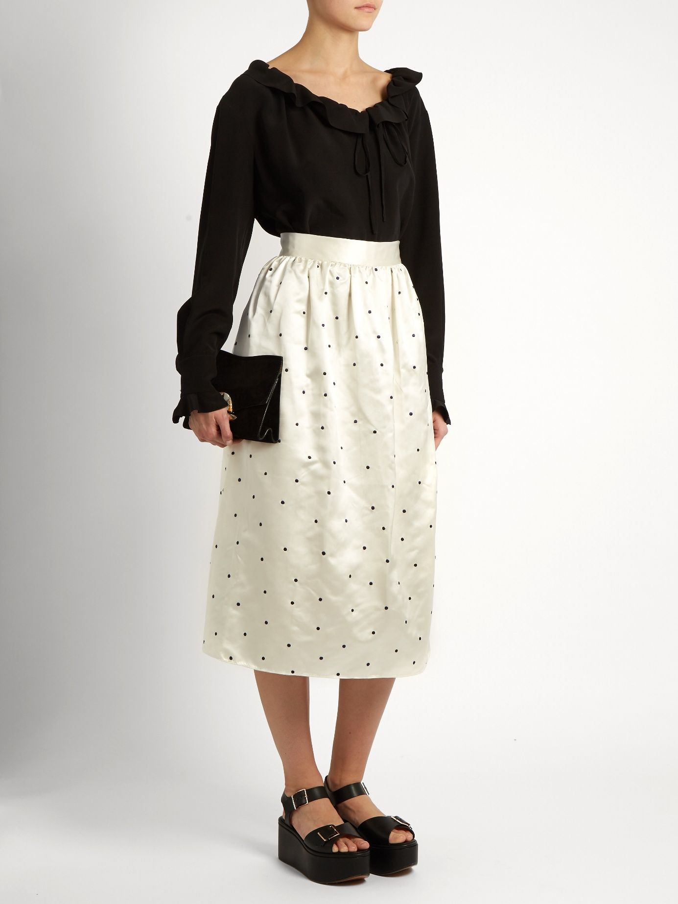 Open P Gala polka-dot embroidered satin skirt | Jupe by Jackie | MATCHESFASHION.COM US