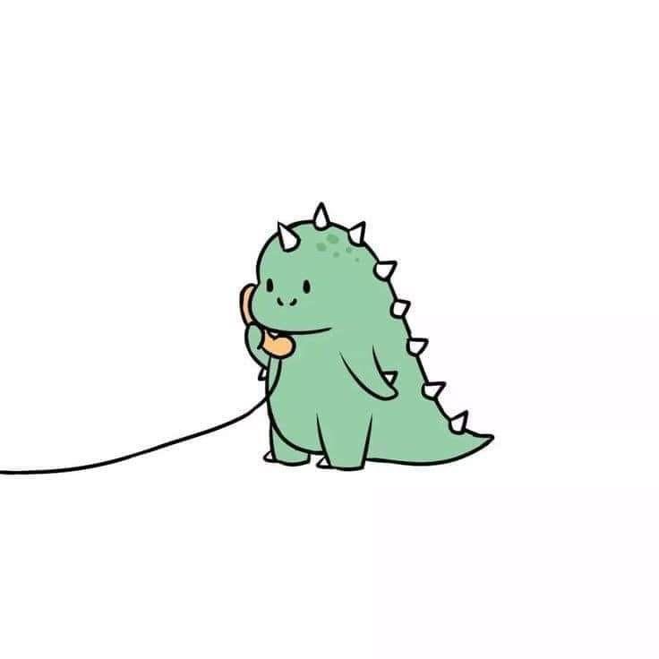 Matching Icon Cute Chibi Dinosaur 1 Wallpaper Kartun Wallpaper Teman Wallpaper Iphone Lucu