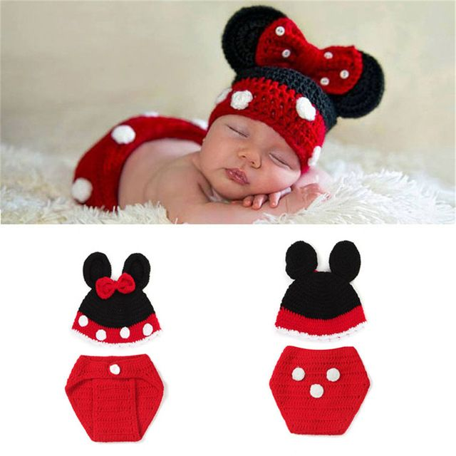 538f2a9298efc Crochet Newborn Baby Girls Cartoon Outfits Knitted Hat&Diaper Set ...