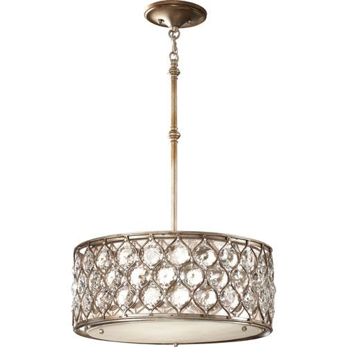 Murray Feiss Lucia Burnished Silver Three Light Drum