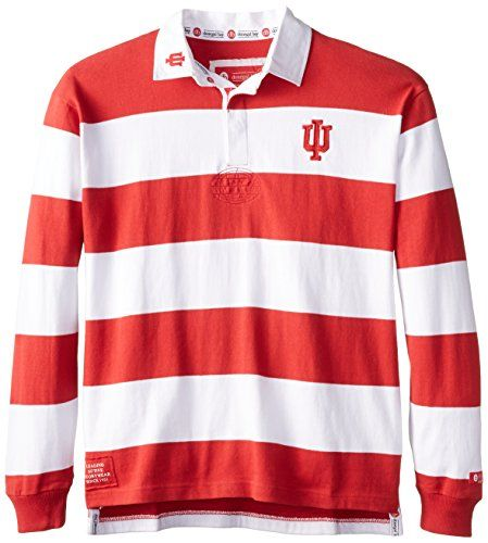 NCAA Indiana Hoosiers Men's Striped Rugby Shirt, Red/White, Medium Donegal Bay