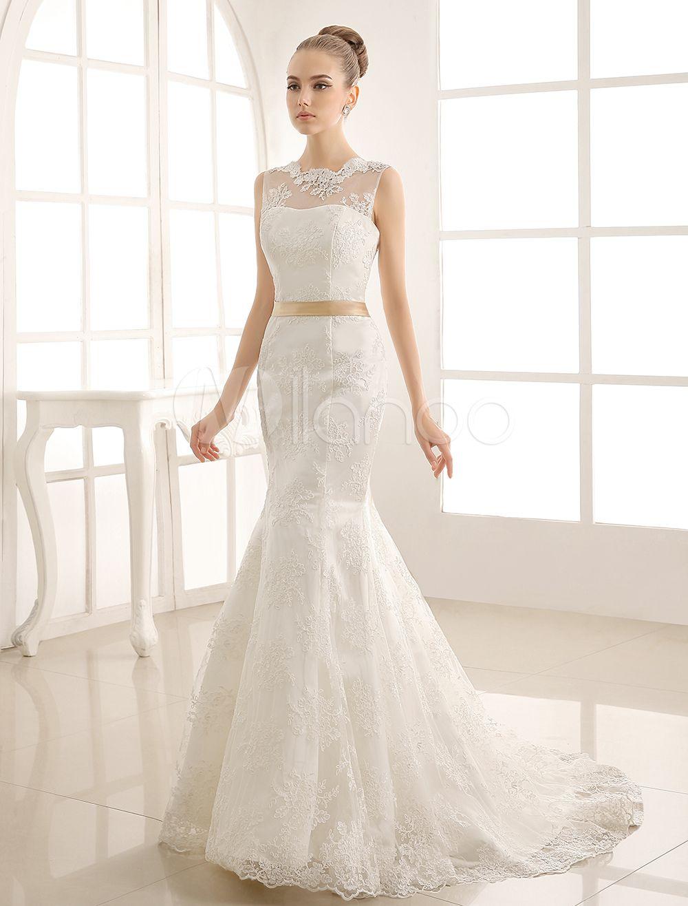 9e8901cfbe2a5 ウェディングドレス マーメイドライン ジュエルネック チャペルトレーン ノースリーブ ...