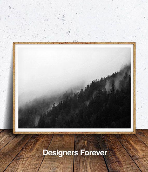 Mountain Print Minimalist Black and White by DesignersForeverShop