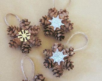 Mini Pine Cone Wreath Ornaments, Gift Topper, Christmas Tree ...