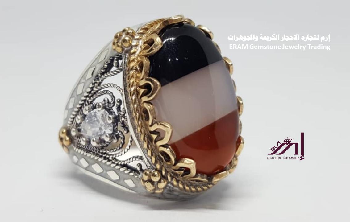 اشعر بالفخر مع خاتم العلم الوطني عقيق يماني Agate طبيعي100 Gemstone Rings Gemstones Rings