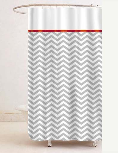 Grey U0026 White Chevron Shower Curtain W/ Red Trim (custom Color)