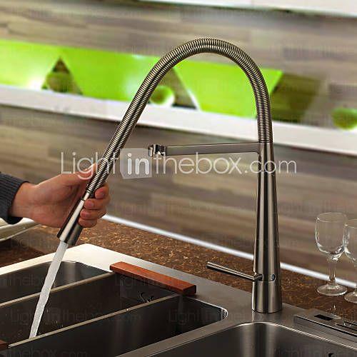 Contemporary Brass Kitchen Faucet - Nickel Brushed Finish Kitchen - armatur küche ausziehbar