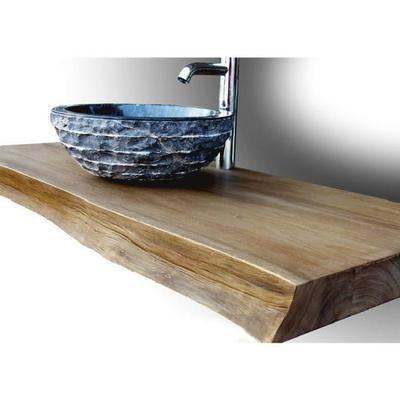 Plan pour vasque en teck massif 120 cm, forme libre - Shark Naturel - Sol Teck Salle De Bain