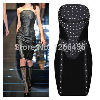 2014 New PU 90% Rayon Diamond Crystal Cocktail Dress Strapless Black Sheath Night Club Party Dress Factory Direct Top Quality