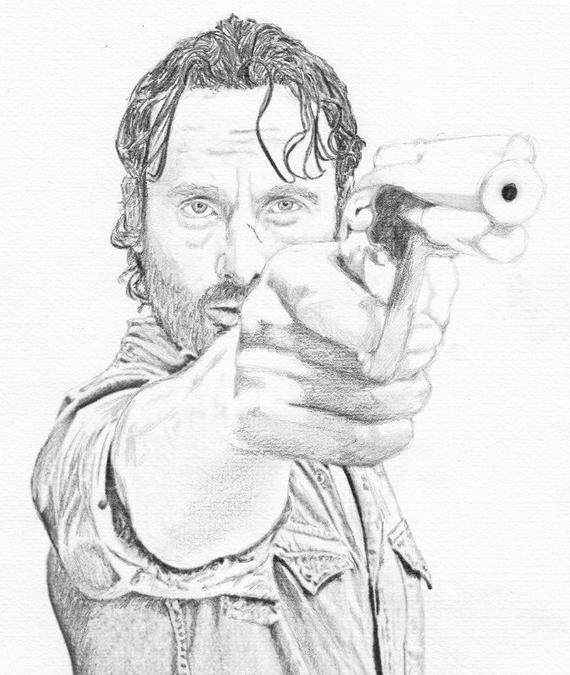 Rick Grimes Pencil Drawing The Walking Dead Fan Art Print Walking Dead Drawings Walking Dead Fan Art Walking Dead Art