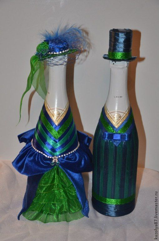 Купить Свадебное шампанское - темно-синий, шампанское, свадебные аксессуары, свадебный подарок, свадебное украшение