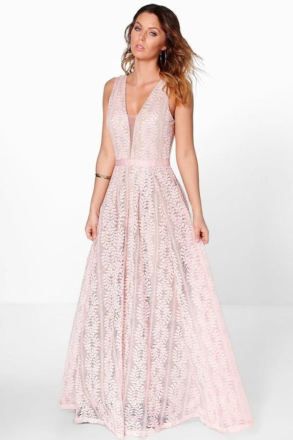 713e49994a Boutique All Lace Plunge Neck Maxi Dress | Krissy's wedding | Boohoo ...