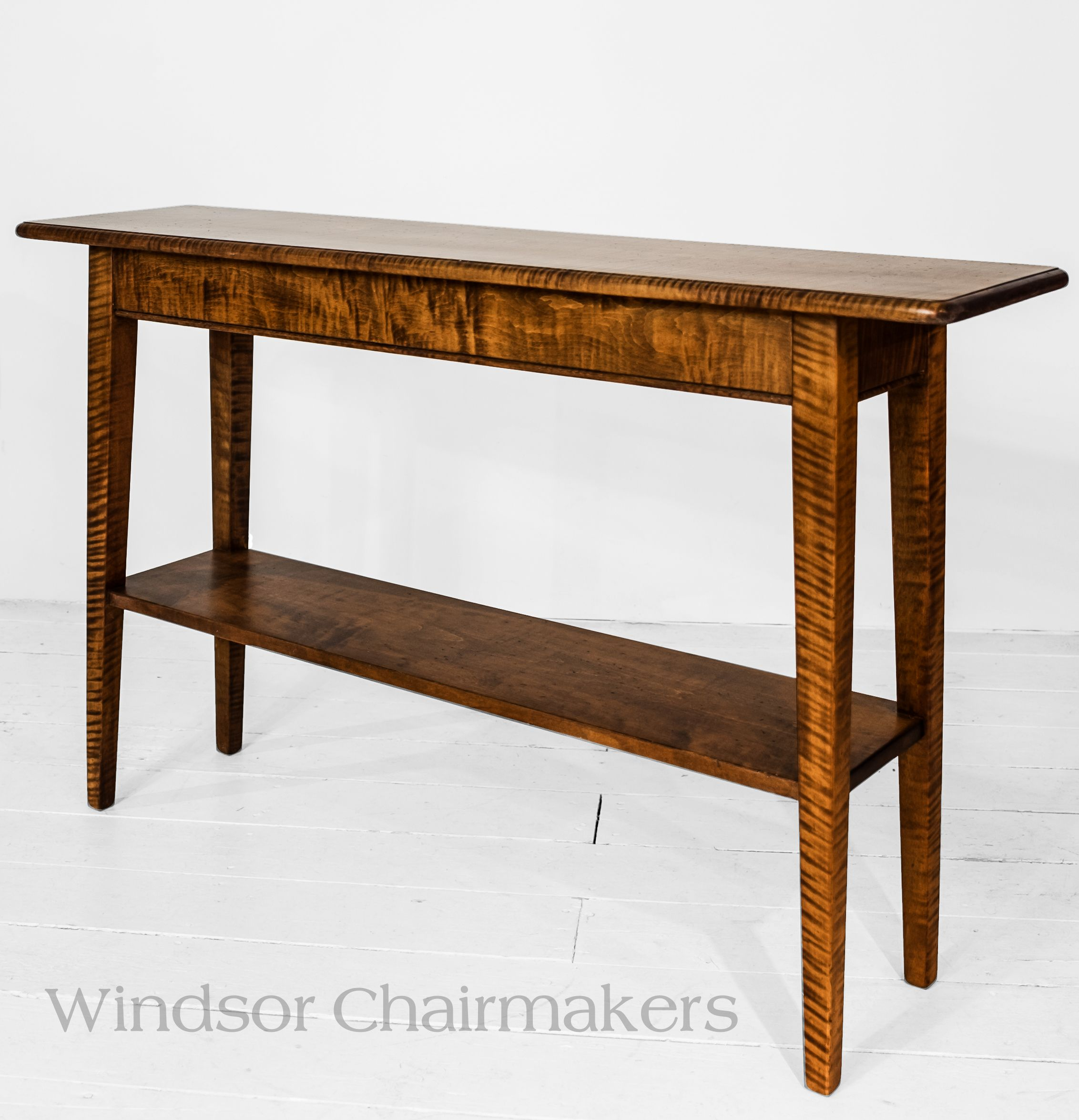"Console Table 48"" x 12"" x 28"" high Wood Choices Tiger maple Cherry"