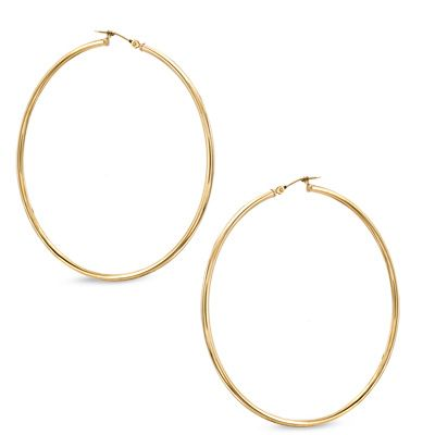 60mm Extra Large Polished Hoop Earrings In 10k Gold Paa Com