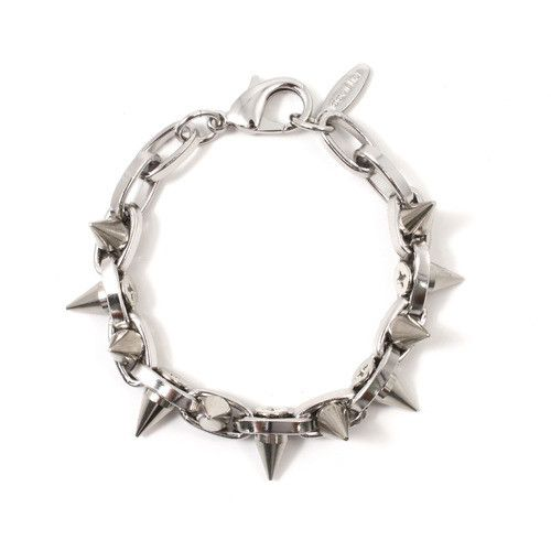 Metal-Luxe Double Row Spike Bracelet - Rhodium/Silver Spikes