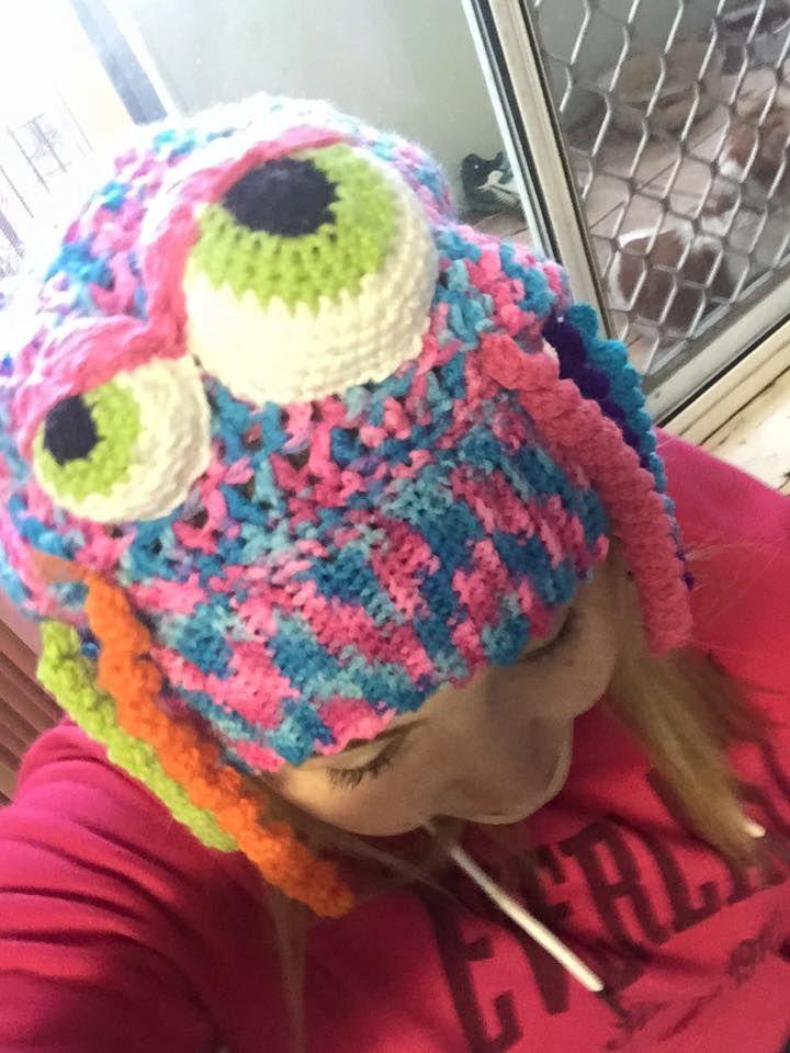 enjoying her custom jelly fish hat.