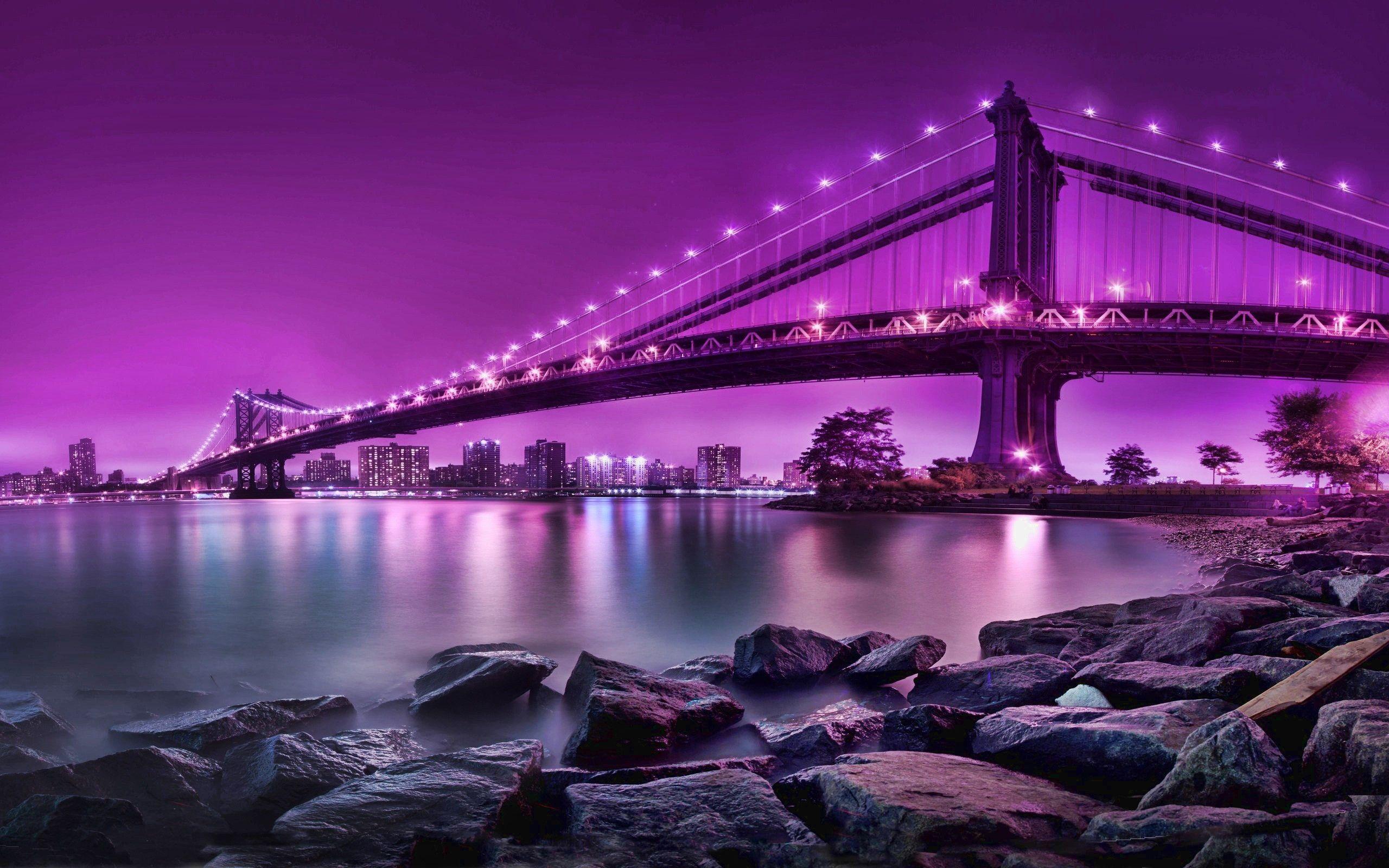 Lavender Wallpaper Water Cityscapes Purple Bridges City Skyline