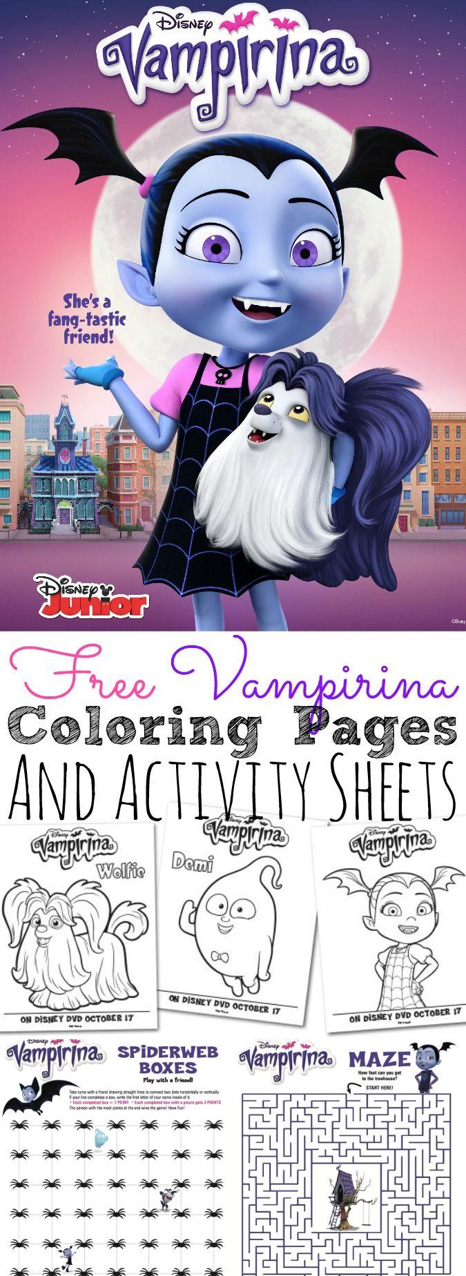 free disney vampirina coloring pages and activity sheets