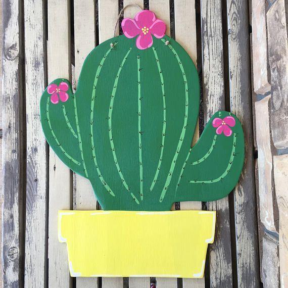 Photo of Cactus door hanger wooden door hanger say anything sign